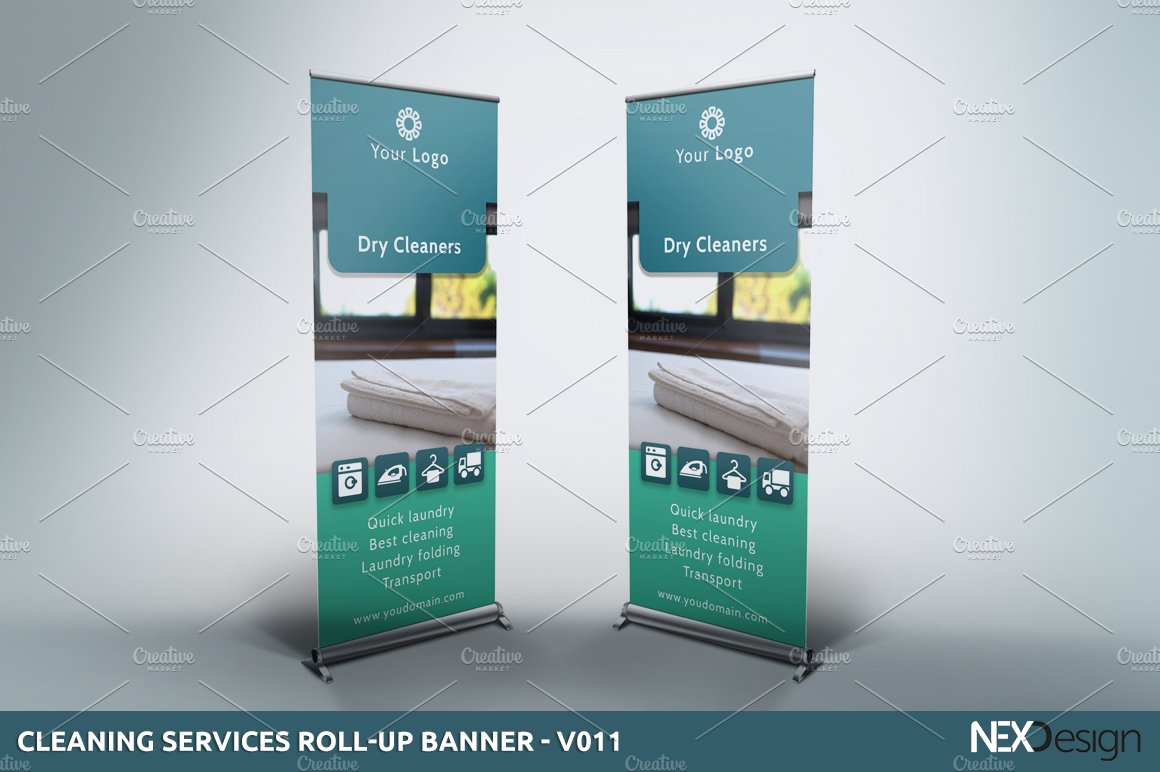 cleaning servies roll up banner v presentation templates on cleaning servies roll up banner v011 presentation templates on creative market