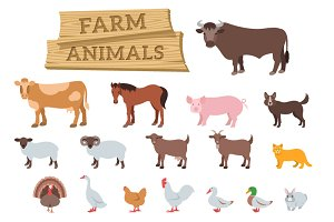Domestic farm animals flat icons