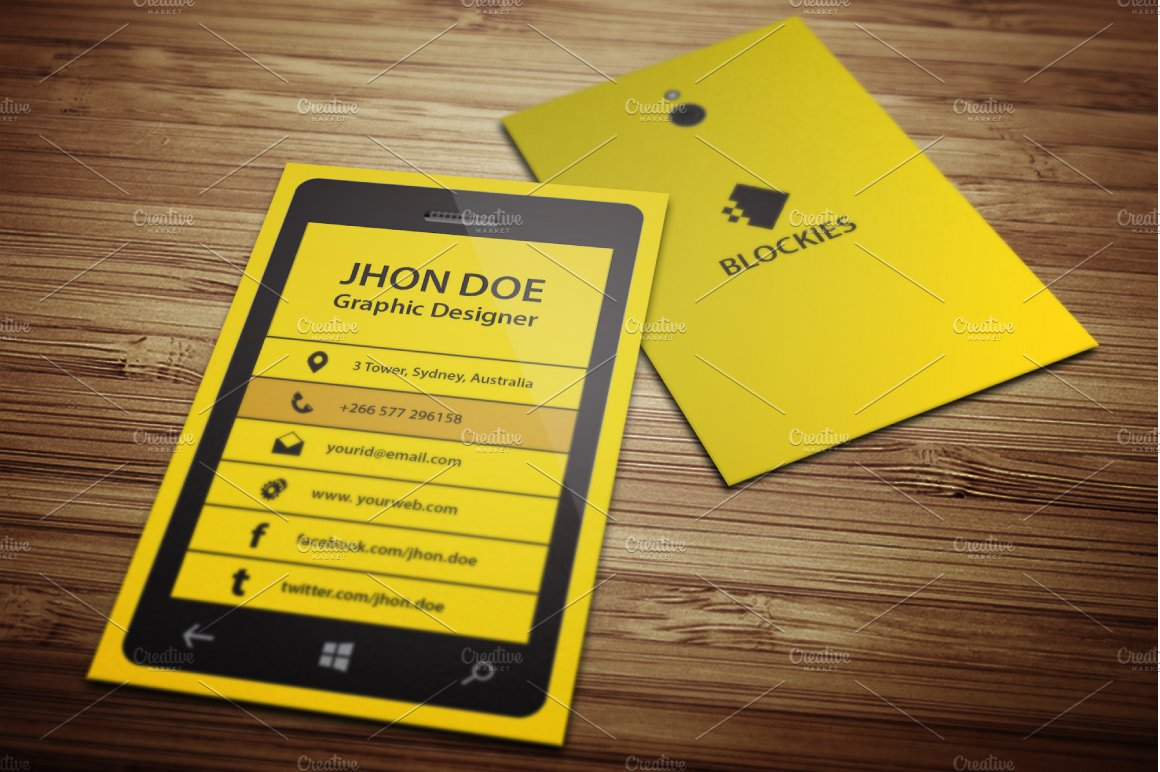 Smart phone business card template business card templates smart phone business card template business card templates creative market fbccfo Choice Image