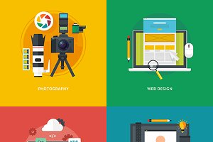 Flat Digital Technology Icons Set