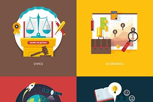 Flat Education Icon Concepts