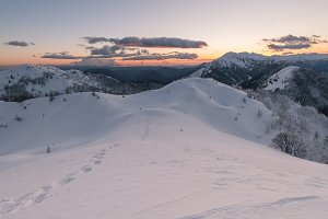 Beautiful winter mountains at sunset
