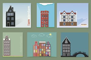 Vector set, fasade of houses.