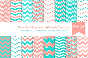 Seamless Turquoise & Coral Chevrons