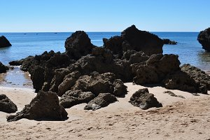 rock, beach and ocean