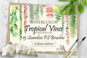 Tropical Vines Seamless PS Brushes