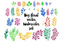Big watercolor floral vector set