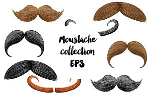 Stylish moustache vector set