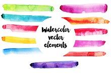 Watercolor vector elements set