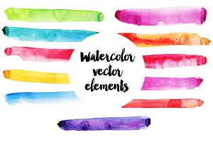 Watercolor vector elements set