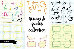 Arrows and quotes vector collection