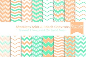 Seamless Mint & Peach Chevrons