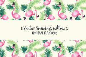 Seamless tropical flamingo patterns