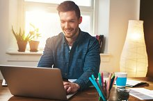 Successful entrepreneur smiling in satisfaction