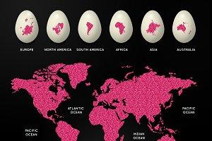 World Map on Easter Eggs