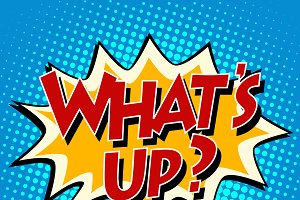 whats up comic bubble retro text