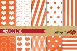 Orange Love Digital Paper Patterns