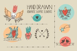 Hand drawn romantic graphic elements