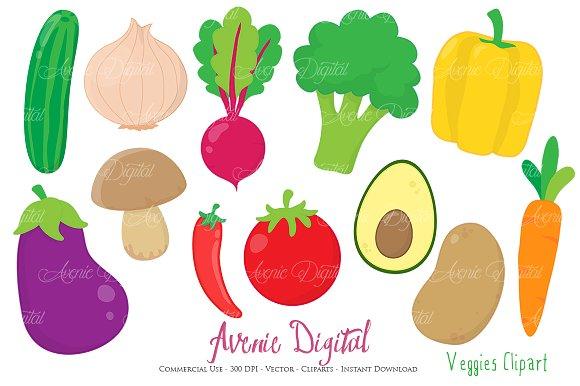Vegetables Clipart + Vectors ~ Illustrations ~ Creative Market