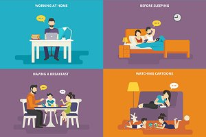 Family flat illustrations set #23