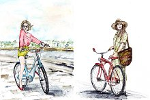 Girls on bicycles in watercolor