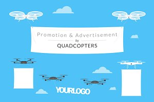 Advertisement by quadcopters vector