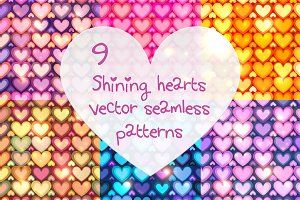9 shining hearts seamless patterns