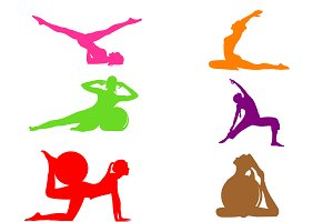 set of fitness icons, pilates, set