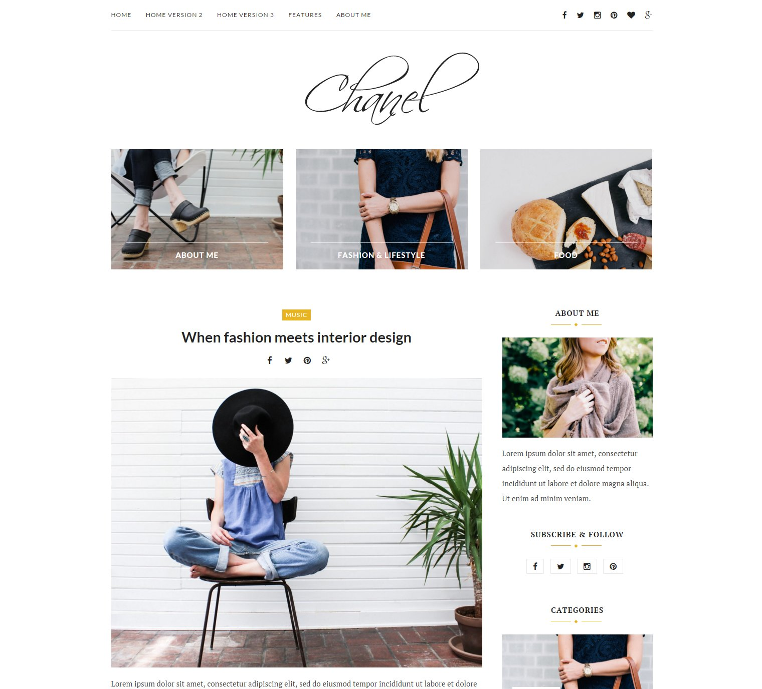 Chanel Wordpress Blog Theme WordPress Blog Themes Creative Market - Free invoice template with logo chanel online store