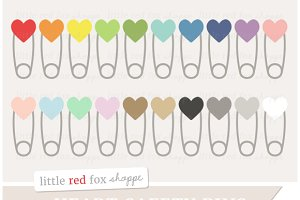 Heart Safety Pin Clipart