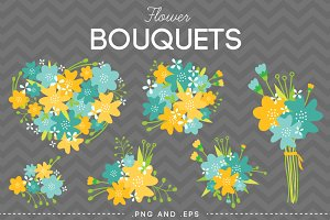 Flower Bouquet Vector Yellow Blue