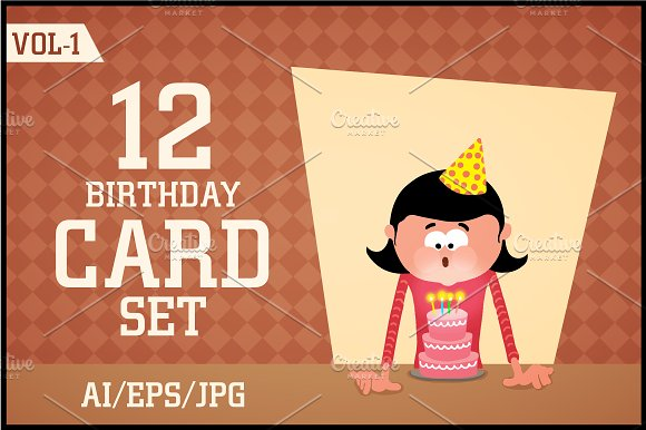 Creative Birthday Card Set Vol 1 Illustrations Creative Market