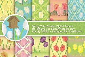 Spring Garden Tulips Digital Paper