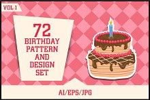 Birthday Pattern & Design set Vol-1