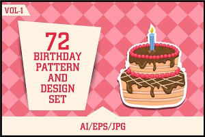 Birthday Pattern & Design set Vol-1