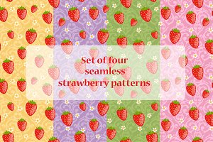 Set of 4 strawberry patterns