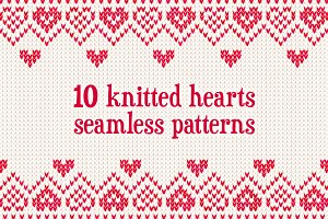 10 knitted hearts seamless patterns
