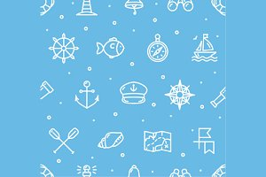 Nautical Sea Background Pattern.