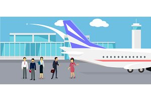 Boarding the Plane Flat Design