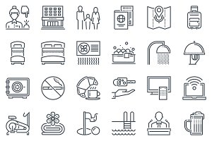 Hotel, vacation icon set - 30 icons