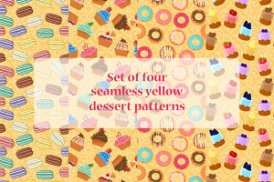 Four seamless dessert patterns