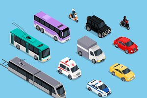 Isometric 3d Transport Set Flat