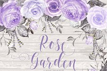 Watercolor rose garden purple