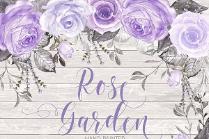 Watercolor rose garden purple
