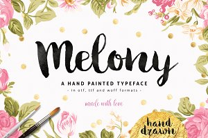Melony Script, Hand Drawn Brush Font