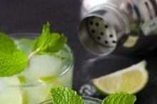 Fresh Mojito with lime and mint