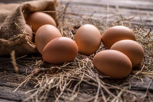 Brown hen eggs