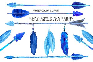 Watercolor indigo arrows & feathers