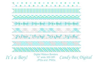 Baby Boy Ribbon Borders