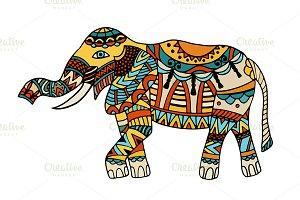 illustration of decorated elephant